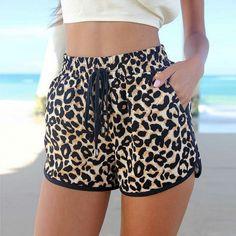 Windreama New Fashion Beach Leopard Shorts Sexy Women Casual Summer Short Feminino Slim High Waist Sexy Shorts, Mini Shorts, Casual Shorts, Women's Shorts, Summer Shorts, Loose Shorts, Yoga Shorts, Sport Shorts, Running Shorts