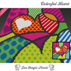 Colorful Heart crochet blanket pattern; c2c, cross stitch; graph; pdf download; no written counts or row-by-row instructions by TwoMagicPixels, $3.99 USD