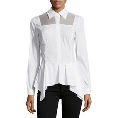 A.Z.I. Sheer-Panel Peplum Blouse ($60) ❤ liked on Polyvore featuring tops, blouses, white, white peplum top, long sleeve blouse, long sleeve peplum blouse, peplum tops and form fitting tops