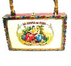 Vintage, Cigar Box, Purse, Cuban Cigars Box, Handbag, Colorful Ladies Fashion. $29.00, via Etsy.