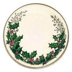 Serve any holiday pastry, cookie, or brownie with these Winter Holly Dessert Plates. These cake plates are a sure bet to keep Christmas spirit jolly and well for any gathering. Glittering Gold and Emerald Green highlight the Winter Holly Dessert Plates. Christmas Dinner Plates, Christmas Dinnerware, Christmas China, Christmas Party Decorations, Noel Christmas, Hristmas Decorations, Christmas Buffet, Xmas Dinner, Christmas Kitchen