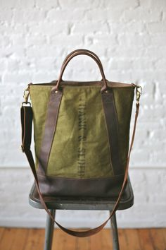 1940s era Canvas & Leather Carryall