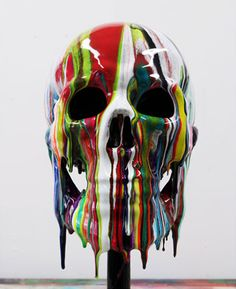 skull covered with paint by Artist Markus Linnenbrink...