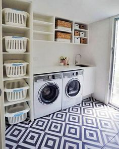 Laundry Room Design: Stunning 80 Beautiful Laundry Room Tile Pattern Id. Laundry Room Tile, Garage Laundry, Laundry Room Remodel, Small Laundry Rooms, Laundry Room Organization, Laundry Room Design, Laundry Basket Storage, Laundry Decor, Outside Laundry Room