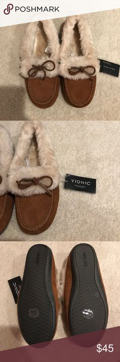 22a360cfcc7f Vionic Juniper Slippers Fur lined slipper shoe with suede natural leather  outer. Outside sole is