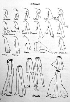 SEWING: GARMENT VOCABULARY- TYPES OF SLEEVES + PANT STYLES Via Made By Meg blog