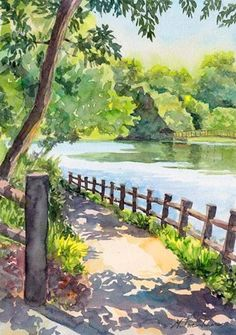 colorful art paintings landscapes * colorful art paintings landscapes – Famous Last Words Landscape Sketch, Watercolor Landscape Paintings, Watercolor Trees, Landscape Drawings, Watercolor Drawing, Watercolor Illustration, Landscape Art, Painting & Drawing, Simple Watercolor