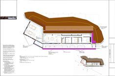 Earthship Construction Drawings Three Bedroom Earthship with a two car garage. Earthship Plans, Earthship Design, Earthship Biotecture, Construction Bedroom, Construction Drawings, Hippie Style Rooms, American Home Design, Heating A Greenhouse, Passive Solar Homes