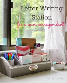 Letter writing station with personalized stationary, cards, pens, stamps, stickers, etc. Such a fun gift idea for kids or adults!