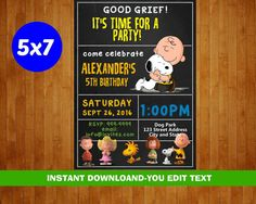 Snoopy Birthday Invitation  Snoopy Invitation  by partypixels1