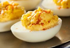 Delicious Deviled Eggs made simple with the Instant Pot! Steaming eggs to hard-boil them means the shell peels away with ease to create perfect appetizers! Egg Recipes, Other Recipes, Sprout Recipes, Whole30 Recipes, Free Recipes, Recipies, Cilantro, Tapas, How To Cook Eggs