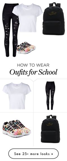 """school"" by trillest-t on Polyvore featuring WithChic, adidas Originals, RE/DONE and Vans"