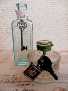 Two Antique Vintage Bottles With Skeleton Keys and by tuscanroad