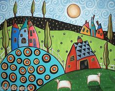 Karla Gerard Two Sheep Landscape Sunrise Canvas ACEO Folk Art Print | eBay