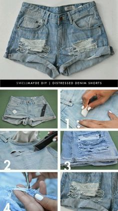 DIY Fashion: How to Refashion Old Shorts – Pretty Designs Distressed Shorts Denim Cutoffs, Denim Shirts, Shorts Diy, Diy Shorts From Jeans, Homemade Jean Shorts, Ripped Shorts Outfit, Cut Jean Shorts, Mode Shorts, Apparel Crafting