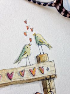 a happy place where life meets art Valentines Watercolor, Valentines Day Drawing, Watercolor Cards, Floral Watercolor, Love Birds Drawing, Love Birds Painting, Doodle Drawings, Doodle Art, Dragonfly Art