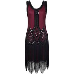 PrettyGuide Women's 1920s Gatsby Beaded Fringed Inspired Cocktail... ($34) via Polyvore featuring dresses, 1920s flapper dress, flapper cocktail dress, purple cocktail dresses, purple evening dress and holiday dresses