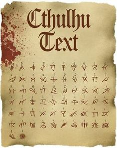 "of Madness - Font of Madness - Font of Madness - Need help drawing the neck? Here are some simplified examples to help you out. Full lesson at Font of Madness ""Alchemical Table of Symbols"" Greeting Cards by EsotericExposal Hp Lovecraft, Lovecraft Cthulhu, Cthulhu Tattoo, Cthulhu Art, Call Of Cthulhu Rpg, Alphabet Code, Alphabet Symbols, Ancient Alphabets, Ancient Symbols"