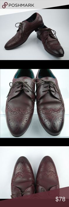 VINEEY Wingtip TED BAKER LONDON Burgundy Shoes VINEEY Wingtip TED BAKER LONDON Burgundy Men's Shoes Size UK8 EU42 US9  Fashioned with an intricate medallion toe design and classic broguing, a sleek, three-eyelet wingtip cut in smooth leather features a slim profile for a modern, masculine look.  Lace-up style. Leather upper/textile. By Ted Baker London. Size: UK8 EU42 US9 Color: Burgundy  Condition: Pre-Owned/ Good Condition with normal singes of wear, Please Check the Photos. Ted Baker…