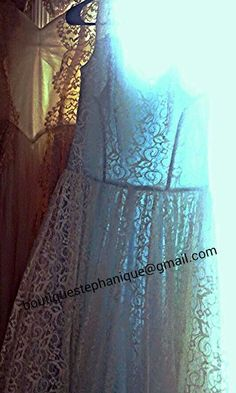 Stunning 19 fifties blue satin with white lace overlay wedding dress $250