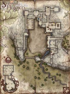 Seinaru Heikiko ruined keep cliff hills wilderness desert steppe stream Fantasy Castle, Fantasy Map, Medieval Fantasy, Landscape Concept, Fantasy Landscape, Map Sketch, Rpg Map, Map Maker, Pathfinder Rpg