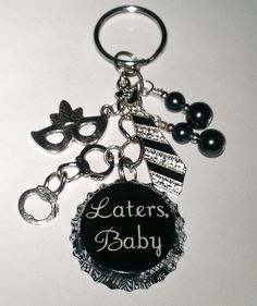 Laters Baby Fifty Shades of Grey 50 Inspired Handcuffs Tie Mask Bottle Cap Keychain Key chain