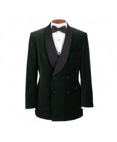 Shawl Collar Double Breasted Smoking Jacket in Bottle Green