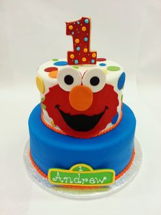 Instead of tickle me we have Eat Me Elmo Cake!