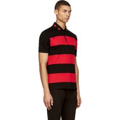 Givenchy Black & Red Embroidered Collar Polo