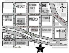 Mapa de la ciudad.  Hola estoy en mi casa, pero me acabo de mudar. Necesito vuestra ayuda:  ¿Dónde está el museo...?  ¿Qué camino debo tomar para ir al parque...?