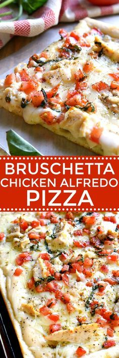 This Bruschetta Chicken Alfredo Pizza is a little taste of Italy, right in your own kitchen! Packed with delicious flavor and ready in under 30 minutes, this pizza is perfect for family night, date ni (Chicken Alfredo) Pollo Alfredo, Chicken Alfredo Pizza, Alfredo Sauce, Healthy Pizza Recipes, Cooking Recipes, Healthy Snacks, Cooking Tips, Skillet Recipes, Cooking Gadgets