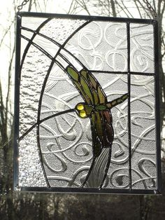 Dragonfly abstract panel Stained glass by DesignsStainedGlass, on Etsy