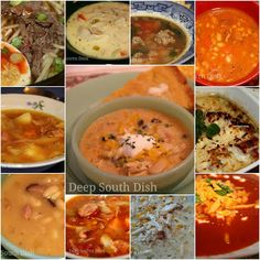 A second collection of great soup recipes for National Soup Month from Deep South Dish. January is National Soup Month, though around her. Soup Recipes, Cooking Recipes, Chili Recipes, Recipies, Cooking Ideas, Cooking Time, Bread Recipes, Chicken Recipes, Creamy Chicken Tortilla Soup