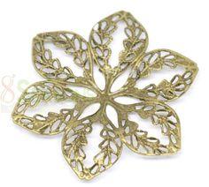 wholesale Bronze Filigree Flower Lantern Pendants Wraps Embellishments 5.5 x 5cm