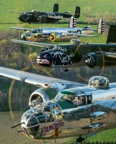 Great stack of Mitchells Aircraft - Aircraft art - Aircraft design - vintage Aircraft - Source Ww2 Aircraft, Fighter Aircraft, Military Aircraft, Fighter Jets, Photo Avion, Old Planes, Aircraft Design, Nose Art, Aviation Art