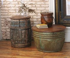 ShopStyle: Vintage Grain Barrel Coffee Tables - Home Decor Woood Western Decor, Country Decor, Rustic Decor, Farmhouse Decor, Repurposed Furniture, Rustic Furniture, Diy Furniture, Barrel Coffee Table, Diy Coffee Table