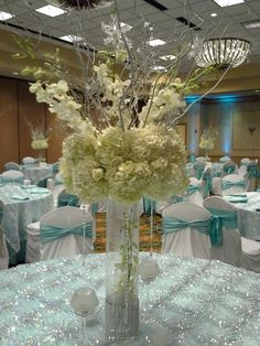 A Winter Wonderland #Mitzvah centerpiece; entirely suitable for a wedding too :)  Love when we duplicate a theme, our centerpieces edge differently even on the same scale. See our earlier post of winter wonderland back in December 2013