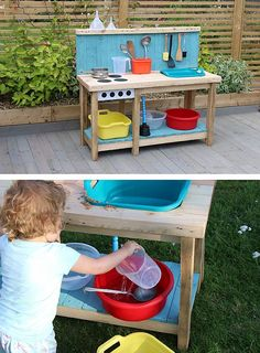 DIY Pallet Mud Kitchen Project - ADDIS Housewares Ltd - Storage, Cleaning, Laundry & Home Organisation Solutions Diy Mud Kitchen, Mud Kitchen For Kids, Diy Outdoor Kitchen, Pallet Kids, Diy Pallet Projects, Backyard For Kids, Diy For Kids, Montessori, Outdoor Activities For Kids