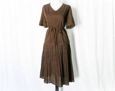 Vintage 70s Swiss Polka Dot Belted Pleated Dress XL - PopFizzVintage, $34.00