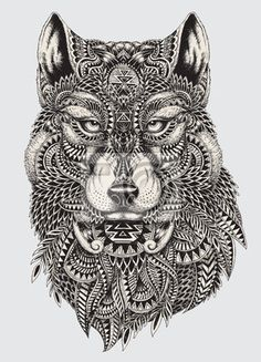 Wall Mural Highly detailed abstract wolf illustration
