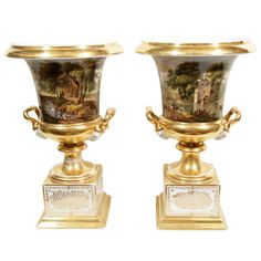 A Pair of Paris Porcelain Urns with French Countryside Scenes