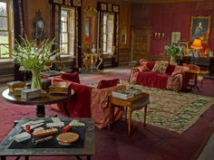 A restored room at West Horsley Place, with a selection of pieces from the upcoming The Duchess auction at Sotheby's London. On the floor is an Agra carpet likely to have been acquired by Lord Crewe circa 1910 during his term as Secretary of State for India.
