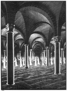 Procession in Crypt - M.C. Escher 1927