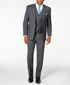 MICHAEL Michael Kors Charcoal Stripe Blue Deco Vested Big and Tall Classic-Fit Suit