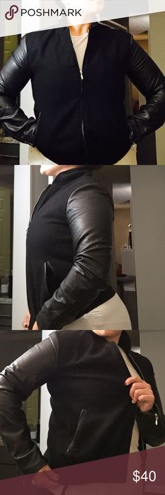 """Faux Leather Sleeve & Piping Moto Jacket Gently used. Faux Leather Sleeve & Piping Ladies Moto Jacket.  Size Large. Brand is """"WESC"""" Urban Outfitters Jackets & Coats"""