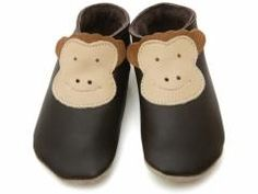 starchild brown baby boy leather shoe with monkey design.