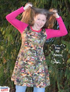 Sew a jersey dress with this free PDF pattern by Kangaskapina.   Sewing instructions in Finnish included. Download free PDF or purchase a printed copy. Pepsi, Free Pattern, Patterns, Sewing, Printed, Dresses, Block Prints, Vestidos, Dressmaking