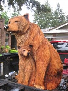 Bear and cub chainsaw carving!!