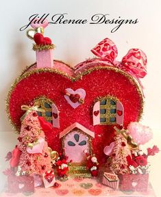 Items similar to Valentine Putz House - Heart Shaped House on Etsy Valentine Decorations, Valentine Crafts, Holiday Crafts, Valentine Wreath, Valentine Heart, Holiday Fun, My Funny Valentine, Vintage Valentines, Saint Valentine