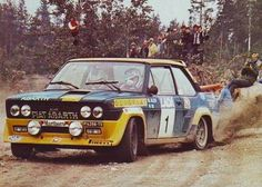 Markku Alen being awesome on his Fiat 131 Abarth, during the 1977 Lakes Rally. Subaru Rally, Rally Car, Sports Car Racing, Race Cars, Classic Motors, Classic Cars, Fiat Cars, Fiat Abarth, Steyr